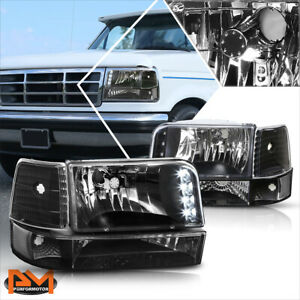 For 92 96 Ford F150 F250 F350 Led Drl Headlight Lamp Black Housing Clear Corner