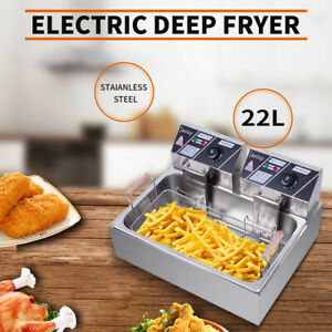 22l 5000w Electric Deep Fryer Single Tank Commercial Restaurant Stainless Steel
