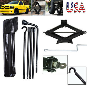 For 2002 15 Dodge Ram 1500 Lug Nut Wrench Scissor Jack 2 Ton Spare Tyre Tools
