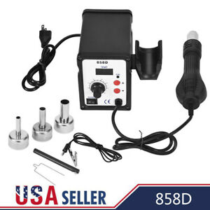 858d Soldering Rework Station Iron Desoldering Hot Air Gun Tool W 3 Nozzles Us