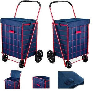 Folding Shopping Cart Liner Rolling Utility Trolley Wheels Basket Hood Bag Blue