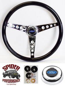 1965 1966 Ford F 100 Steering Wheel Blue Oval 15 Glossy Grip