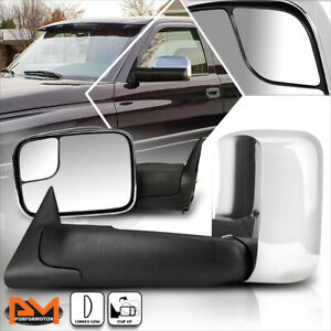 For 94 02 Dodge Ram 1500 2500 3500 Manual Telescoping Chrome Towing Mirror Pair