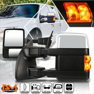 For 08 16 Ford Super Duty Powered heat Chrome Towing Mirror led Signal Lamp Pair