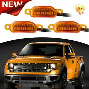 Set Of 3 Amber Led Light For Ford F 150 F150 Raptor Grill Style Truck Upgrade