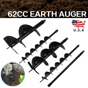 4pc Earth Auger Post Hole Borer Ground Drill Bits extension Rod Kits 3 4 5 8