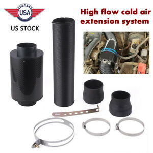 Air Intake Filter Kit Carbon Fiber Cold Feed Induction Air Filter Box Universal