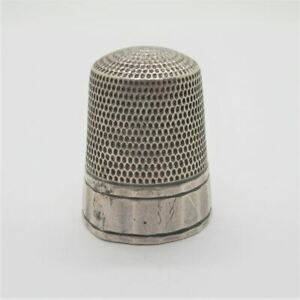 Antique Sterling Silver Simons Brothers 18 Panel Thimble Size 12 No Monogram