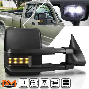 For 88 02 Chevy gmc C k Truck Power Black Towing Mirror W smoked Led Lamp Right