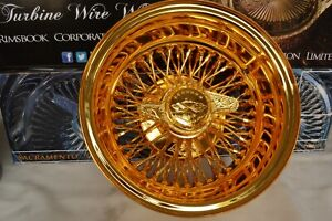 All Gold 13x7 Wire Wheels Caprice Impala Lincoln Buick Cadillac In Stock