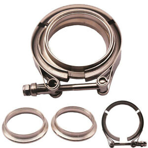 Universal 2 Inch V Band Clamp Kit For Turbo Exhaust Downpipe Stainless Steel
