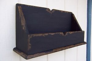 Primitive Rustic Painted Country Wall Shelf Wooden Box Farmhouse Wood Sh