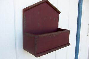Primitive Rustic Painted Country Wall Shelf Candle Mail Box Farmhouse Folk Art
