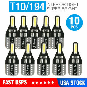 10 pack T10 Led License Plate Light Bulbs 6000k Super Bright White 168 2825 194