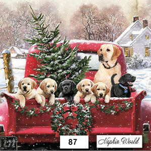 87 TWO Individual Paper LUNCHEON Decoupage Napkins RED TRUCK DOGS CHRISTMAS $1.98