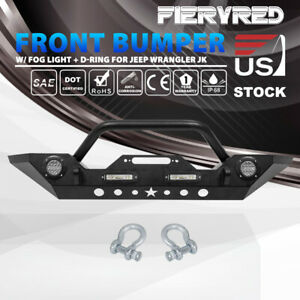 Front Bumper With Led Lights Built In Winch Plate For Jeep Wrangler Jk 07 18