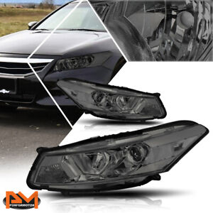 For 08 12 Honda Accord Coupe Projector Headlight lamp Smoked Housing Clear Side
