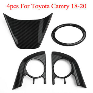 4pcs Carbon Fiber Abs Steering Wheel Cover Frame Trim For Toyota Camry 2018 2020