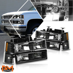 For 94 99 Chevy C k Pickup Suburban Headlight lamps Black Housing Amber Corner