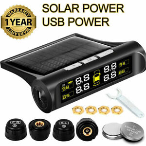 Wireless Solar Tpms Lcd Car Tire Pressure Monitoring System W 4 External Sensor