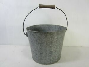 Vintage Stc Small Galvanized Pail With Wooden Handle On Bail Ah