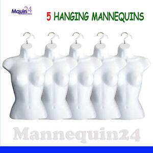 5 Pack Female Mannequin Torso Body Dress Forms White With Hangers