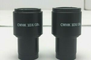 Pair Olympus Japan Eyepiece Eye Piece Cwhk 10x 18l Microscope Part Off Ch 2 chs