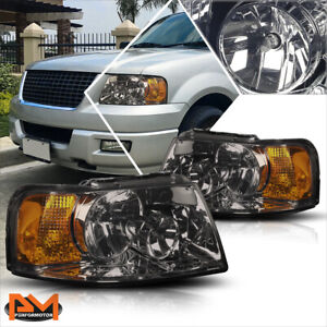 For 03 06 Ford Expedition Black Housing Headlight Amber Side Corner Lamps Pair