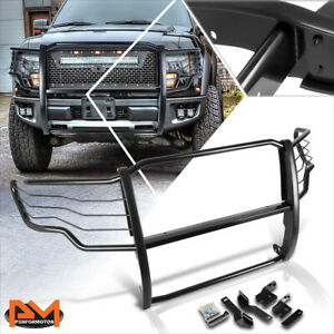 For 09 14 Ford F150 Pickup Front Bumper Brush Grill Guard Protector Coated Black