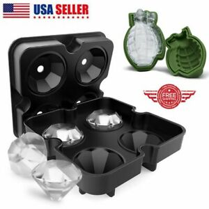 3d Ice Balls Maker Diamond Grenade Tray Mold Cube Whiskey Cocktails Silicone Us