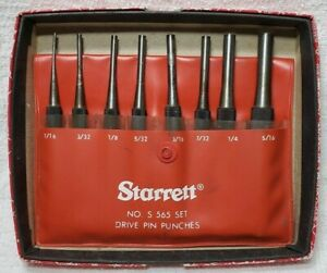 Starrett s565pc 8 Pc Drive Pin Punch Set In Case Edp 52587 Usa
