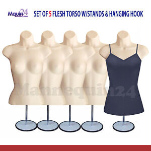 5 Pack Female Torso Body Mannequin Display Dress Forms Flesh With Stand Hanger
