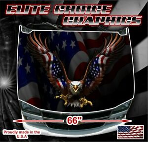 Patriotic American Flag Eagle Vinyl Hood Wrap Bonnet Decal Sticker Graphic