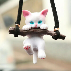 Car Pendant Cute Branch Cat Rearview Mirror Car Interior Decoration For Girls