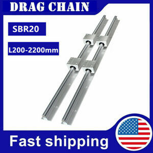 2pcs Sbr20 200 2200mm Linear Rail Slide Guide Shaft 4x Sbr20uu Bearing Block Cnc