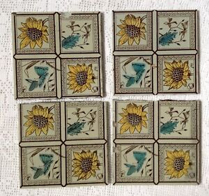 Antique Reclaimed Victorian Art Nouveau Style Floral Tiles With Butterflies 6