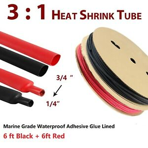 Black red Heat Shrink Tubing Kit Marine Grade Adhesive Liner Wire Wrap Tube 3 1