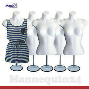 5 Pack Mannequin Torsos Body Dress Form White W Table Top Stand Hanger