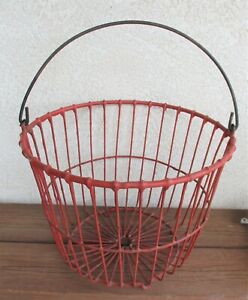 Vintage Primitive Farmhouse Heavy Duty Red Coated Wire Egg Basket