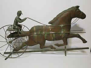 Vintage 32 Copper Sulky Jockey Horse Carriage Buggy Weathervane Free Shipping