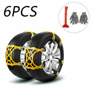 6x Universal Snow Tire Chains Of Car Suv Thickened Anti Skid Emergency Strap