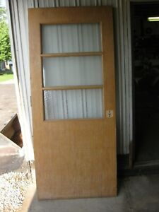 84 X 36 X 1 7 8 Solid Wood Door 3 Window Vintage Antique Commercial