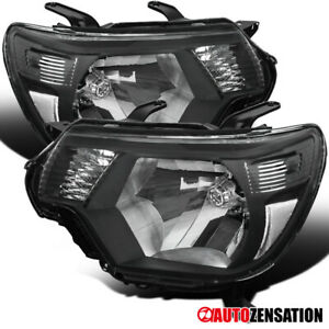 For 2012 2015 Toyota Tacoma Black Headlights Head Lamps Pair Left right