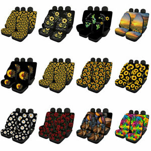 Floral Sunflower Full Car Seat Covers Front Rear Set For Women Interior Decor