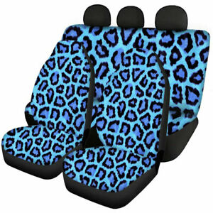 Leopard Grain Car Seat Covers Front Rear Full Set For Interior Elastic Protect