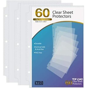 Ktrio Heavyweight Sheet Protectors Clear Page 5 5 X 8 5 Inches For Mini 3 Ring
