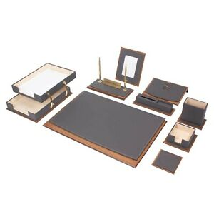 Star Luxury Leather wood Desk Set 11 Pcs With Double Tray Desk Organizer Gray