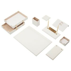 Leather Desk Set 10 Pieces With Double Document Tray Desk Organizer White