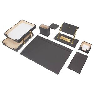 Leather Desk Set 10 Pieces With Double Document Tray Desk Organizer Gray
