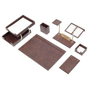 Leather Desk Set 10 Pieces With Double Document Tray Desk Organizer Brown
